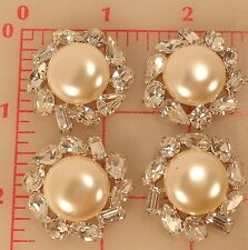 4 vintage silver Czech rhinestone buttons jewels pearl 153 yellowed stone 1.25""