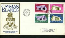 Postal History Cayman Islands FDC #300-303 Government Buildings court law 1972