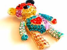 TEDDY BEAR BROOCH!Fabulous Rainbow Rhinestoned Bear.Pure Heart.Gold Tone Set Pin