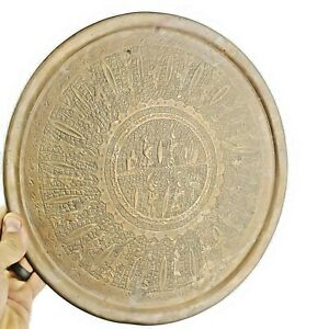 """Fine Antique Middle Eastern Round Copper 13"""" Tray Hand Hammered Figures"""