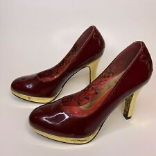 Ed Hardy Women's Shoes Heels Leather Red Gold Pumps 6 US Patent