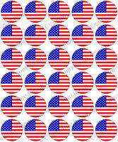 30 x USA American Flags Edible Rice Wafer Paper Cupcake Toppers