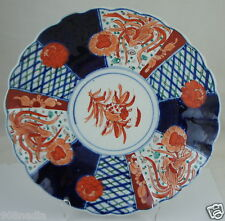 ANTIQUE IMARI POTTERY JAPANESE PORCELAIN PLATE/PLATTER/CHARGER SCALLOPED