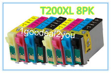 8 pack New T200XL Ink For Epson WorkForce-2520 2530 2540 XP-200 300 310 400 410