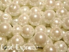 30pc Quality Glass Pearl Round Beads Lot - Snow White 10mm (CR1002)