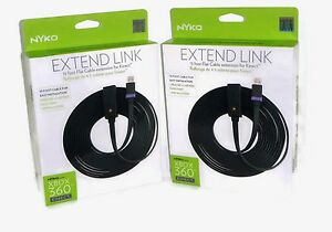 (2 PACK) Nyko Xbox 360 Extend Link 15 Foot Flat Cable Extension for Kinect