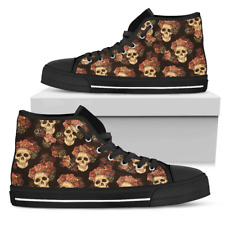 Gothic Skull & Roses Shoes - Women's High Top