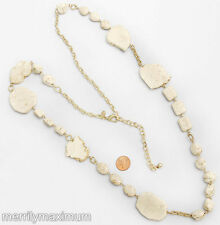 Chico's Signed Necklace Long Gold Tone Chain Chunky Ivory Color Real Stones
