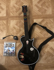 Sony PS3 Guitar Hero Gibson Les Paul Black Guitar with Dongle And Rock Band Game