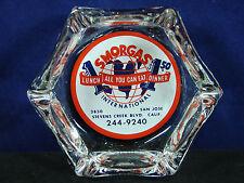 "SMORGAS ""ALL YOU CAN EAT"" California Vintage Glass Advertising Ashtray Cigar"