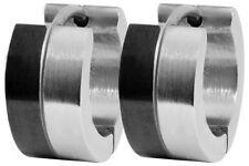 Titan Titanium Klappcreolen Kreolen Ohrringe Onyx schwarz Silber Biker Herren 3