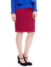M&S Collection Womens Lined Pencil Skirt Rose Lace Red Blue - Size 6 Petite BNWT
