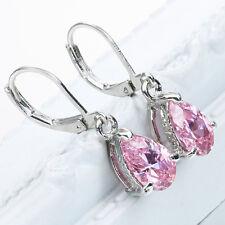 New Women's Silver Pink Sapphire Stud Hoop Earrings Jewelry Fashionable Slinky