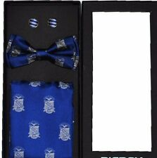 Phi Beta Sigma Fraternity Pretied Bow tie Set cuff link set pocket square