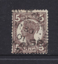 Qld: 1897-1911 4Th Sideface Qv 5d Black Brown Sg248 Used