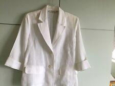 Paz Torras  100% White Linen 3/4 Sleeves Jacket Size Eu46 Uk 18 New