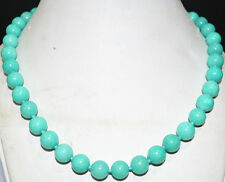 """10mm natural Americas light blue Amazon Sapphire beads Necklace 18 """" AAA"""