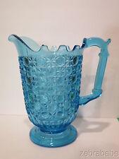 Vintage Blue Pressed Glass Pitcher