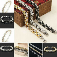 Mens Gold Silver Tone Stainless Steel Bracelet Chain Wristband Cuff Bangle Link