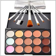 15 Farben Lidschatten Abdeckcreme Concealer Palette & 7tlg Makeup Pinsel Set