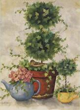 GARDEN FLOWERS HYDRANGEAS TEA POT CUP BOTANICAL SPARROW ART NOTE GREETING CARD