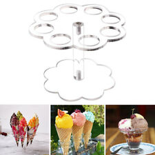 PW_ 8 Holes Ice Cream Cone Clear Acrylic Holder Wedding Party Display Stand Pr