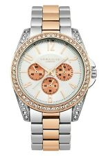 Identity London Ladies Two Tone Silver & Rose Gold Colour Stone Set Watch/ GIFT
