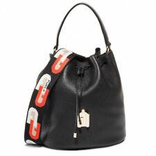 Woman Handbag Furla Sleek S Drawstring 1057252 Black Leather Shoulder Bucket Bag