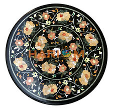 "24"" Round Marble Coffee Table Top Black Multi Floral Inlay Interior Decor B329"