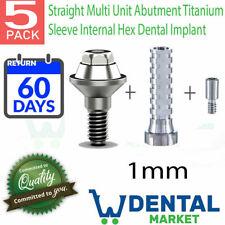 X 5 Straight Multi Unit 1mm Abutment Titanium Sleeve Internal Hex Dental Implant