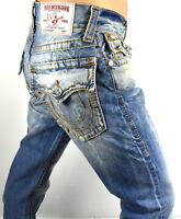 True Religion $249 Men's Hand Picked Straight Red Orange Big T Jeans - 100027