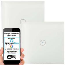2x Single WiFi Light Switch & Automatic Timer – Wireless Control Lamp Wall Plate