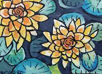ACEO original miniature painting Ink pen & Watercolor Art - Waterlily Blooms
