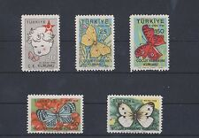 TURKEY 1958, TURKISH SOCIETY FOR THE PROTECTION OF CHILDREN WEEK BUTTERFLIES MNH