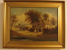 Late19th Century Oil Painting On Canvas 'Old Cottages' Signed By B. Crossley