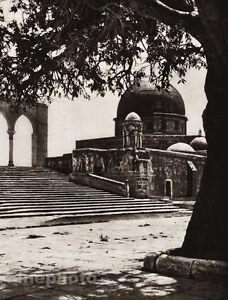 1925 Vintage JERUSALEM Dome Rock Stone Architecture ISRAEL Palestine Photo Art