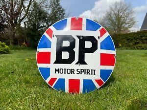 Emailleschild BP Motor Spirit Oldtimer USA Reklame Schild Benzin Auto Öl Vintage
