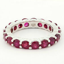 Natural Ruby Shared Prong Anniversary Eternity Band 10k White Gold 6.65CT