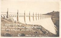 Elephant Butte Dam New Mexico~Lower Side~Tank on Hill~1921 C Phillips RPPC