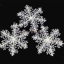 30pcs/lot 11cm Christmas Ornament White Plastic Christmas Snowflake Tree Window