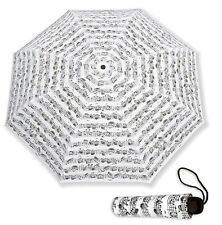 NEW! SHEET MUSIC NOTES Vienna World Mini Compact WHITE UMBRELLA Musician Gift