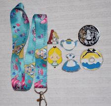 Disney Pin Starter Set 6 pin trading pins plus ALICE in Wonderland Lanyard