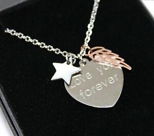 PERSONALISED Keepsake Gifts Memorial Necklace Pendant Angel Wings Engraved Heart