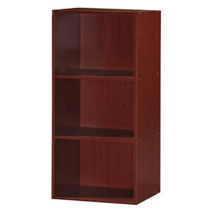 Hodedah 3 Shelf Home and Office Organization Storage Bookcase Cabinets, Mahogany