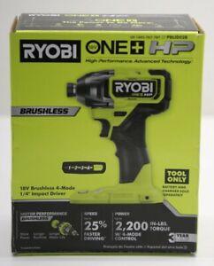 "Ryobi One+ HP PBLID02B 18V Brushless 4 Mode 1/4"" Impact Driver - Tool Only - NEW"