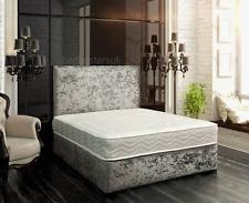 NEW CRUSHED VELVET DIVAN BED + MEMORY MATTRESS + HEADBOARD 3FT 4FT 4FT6 5FT 6FT