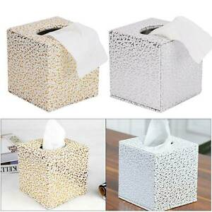 Tissue Box Holder Carved Cube Square Napkin Dispenser Bedroom Office Reception