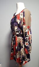 NINE WEST floral long sleeve belted chiffon dress size US 6 UK 8
