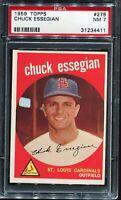 1959 Topps Baseball #278 CHUCK ESSEGIAN St Louis Cardinals PSA 7 NM
