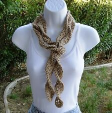 Light Brown, Beige Cotton Summer Scarf Skinny Small Long Twisted Crochet Knit